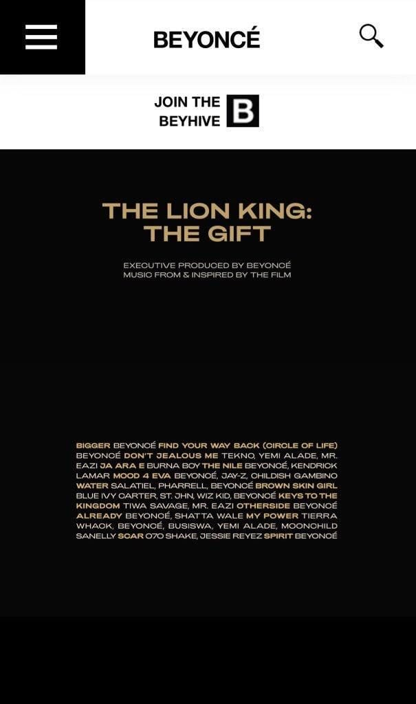 """The tracklist for """"The Gift"""""""