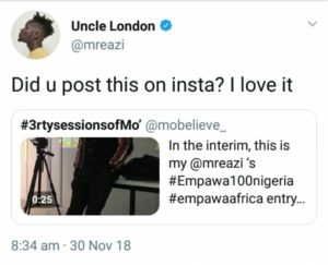 Mo'believe catches Mr Eazi's attention On Twitter